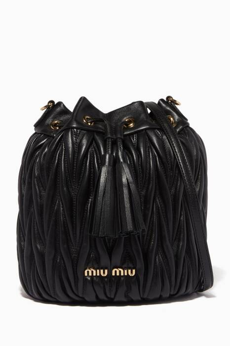 Black Small Matelassé-Leather Bucket Bag