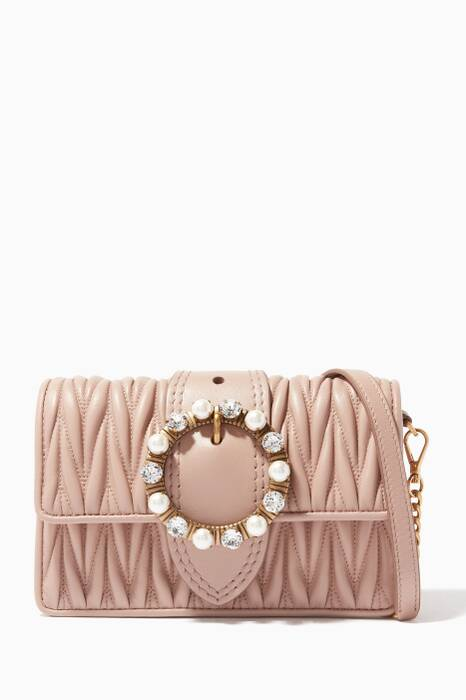 Blush Pearl-Clasp Belt & Shoulder Bag
