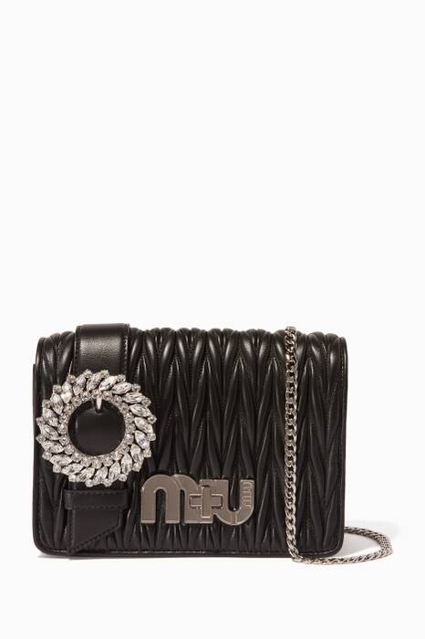 Black Small Crystal-Buckle Evening Bag