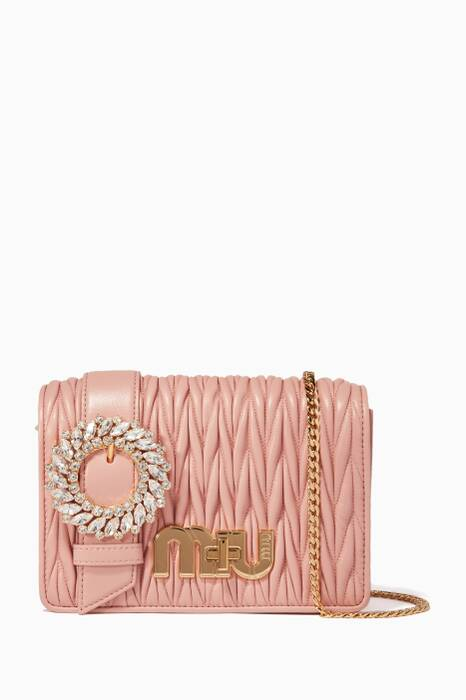 Blush Small Crystal-Buckle Evening Bag