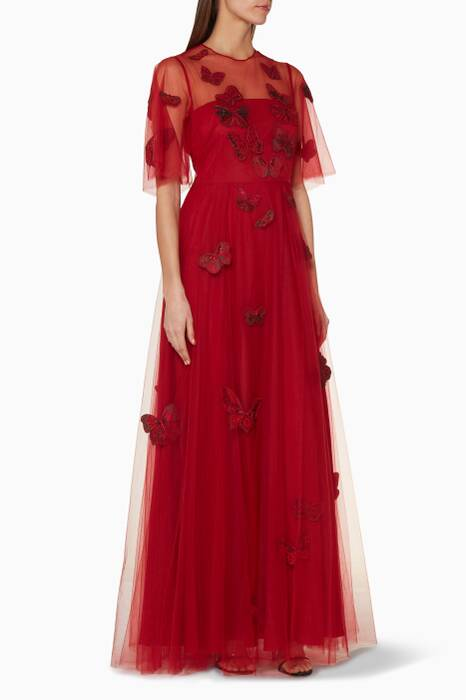 Red Butterfly Appliquéd Gown