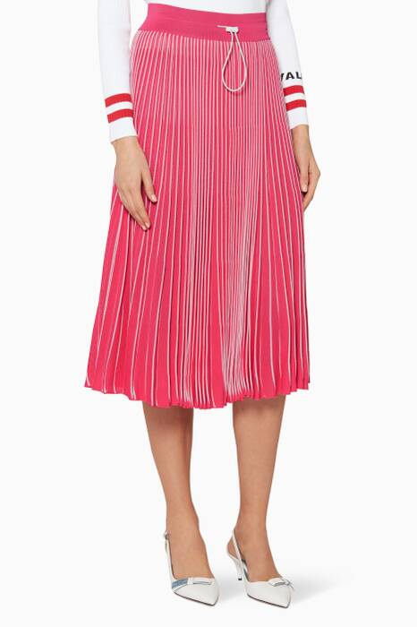 Pink Stripey Pleated Skirt