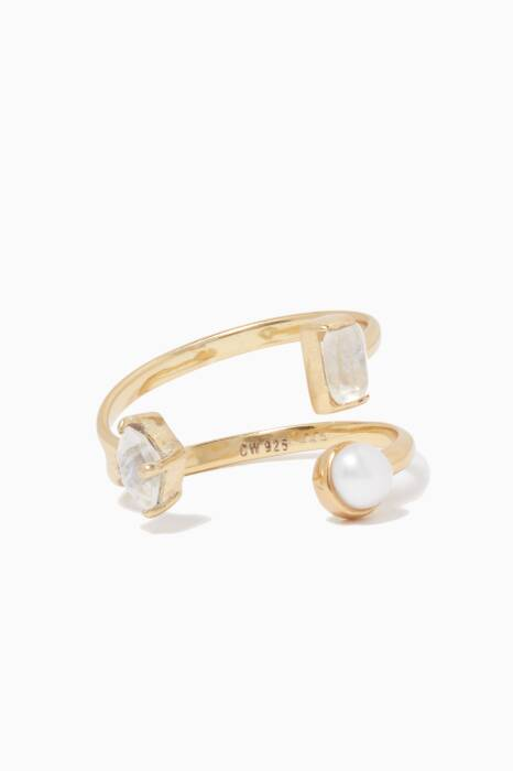 Gold Pearl & Moonstone Open Ring