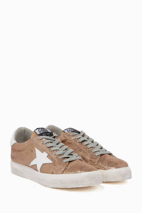 Gold Metallic Crackle Low-Top May Sneakers