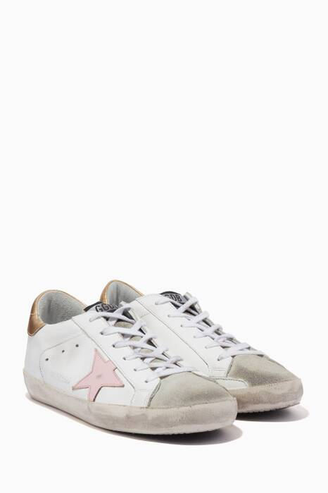 White & Pink  Classic Contrast Low-Top Superstar Sneakers