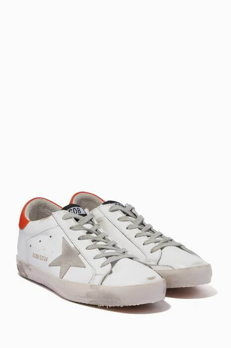 White & Orange Classic Contrast Low-Top Superstar Sneakers