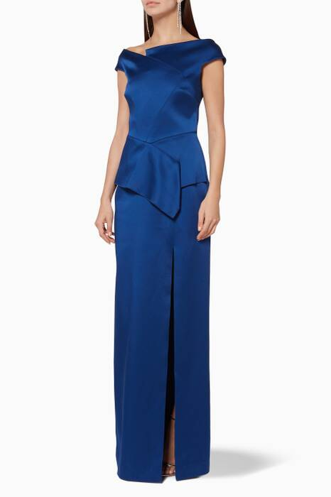 Blue Cawthorne Off-The-Shoulder Gown