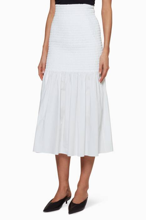 White Gathered Midi Skirt