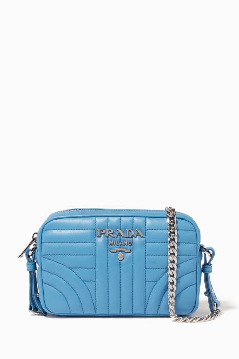 Blue Small Diagram-Quilted Camera Bag