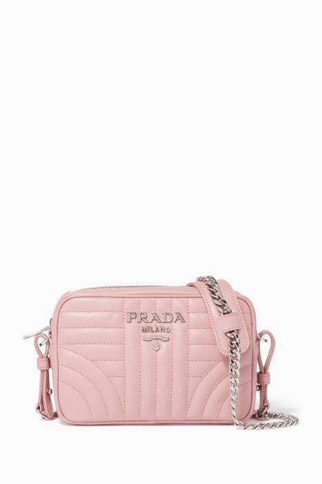 Pastel-Pink Small Diagram-Quilted Camera Bag