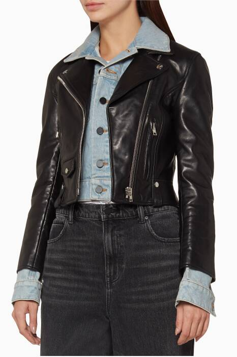 Black Leather & Denim Hybrid-Moto Jacket