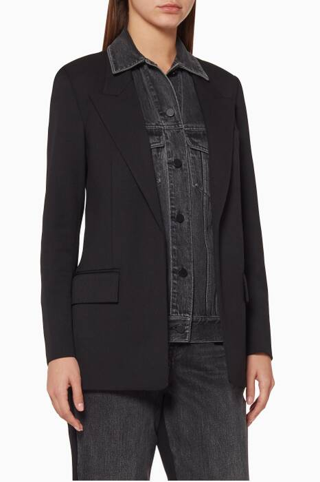 Black Denim-Front Single-Breasted Jacket