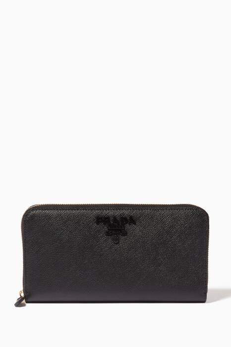 Black Monochrome Zip-Around Wallet
