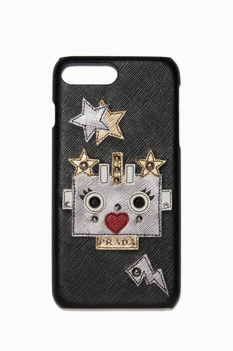 Black & Silver Saffiano Robot Heart iPhone® Plus Case