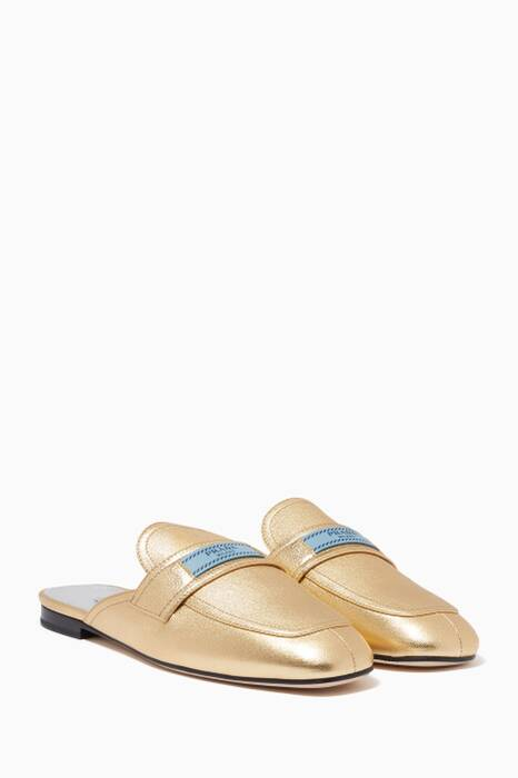 Metallic-Gold Etiquette Backless Loafers