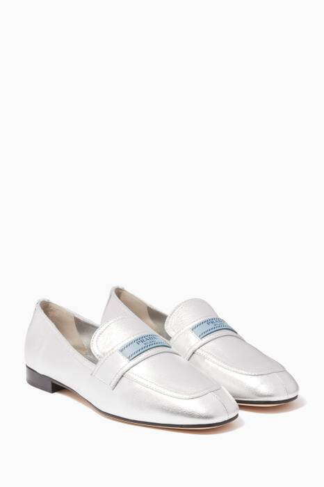 Metallic Silver Etiquette Collapsable Loafers