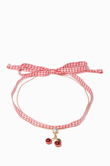 Red Cherry-Crystal Gingham Necklace