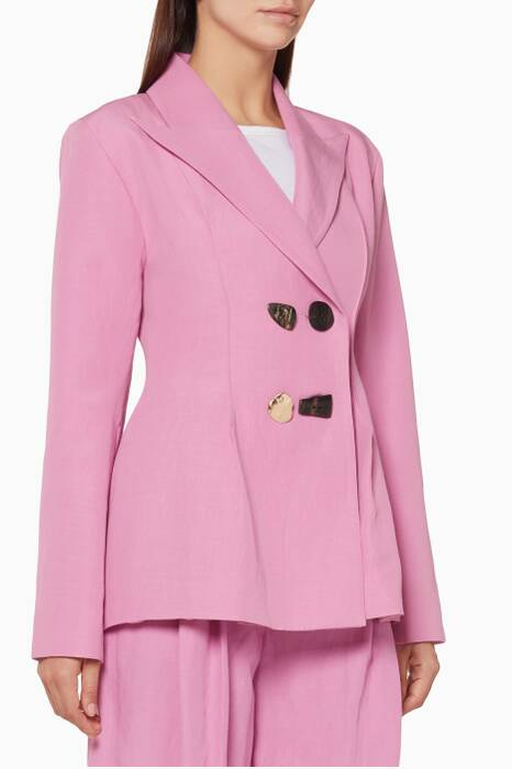Taffy-Pink Double-Breasted Nicole Jacket