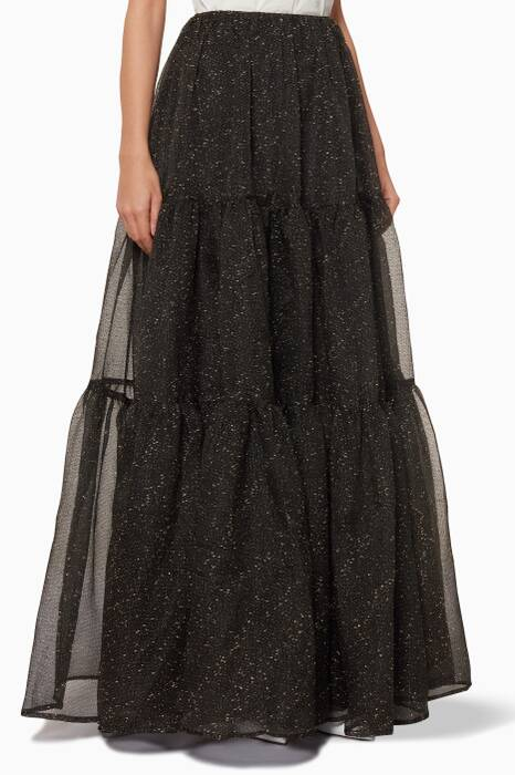 Black Embroidered Organza Eva Skirt