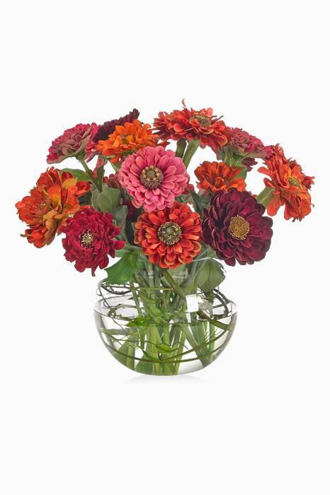 Orange Zinnia Sunset Bouquet With Glass Bubble Vase