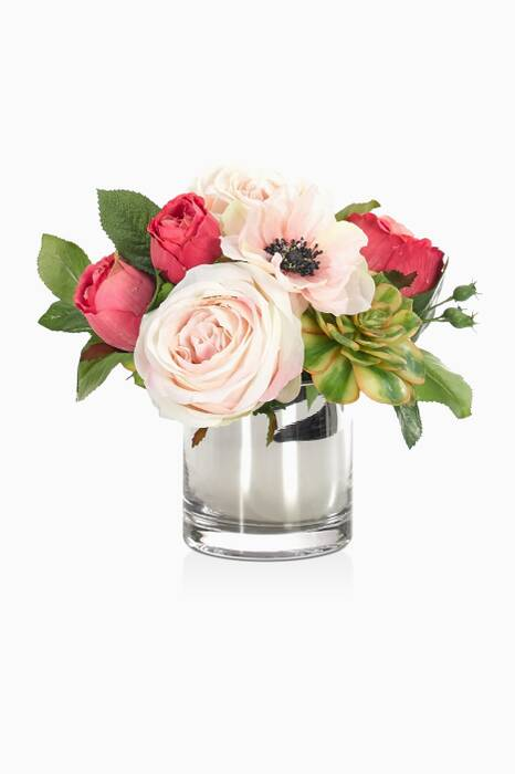 Pink Rose Anemone Bouquet With Mirrored Cylinder Vase