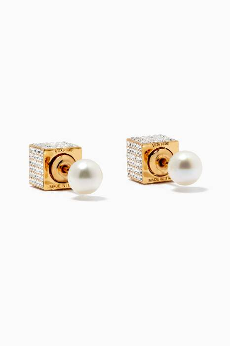 Gold Double Cube Pearl Earrings