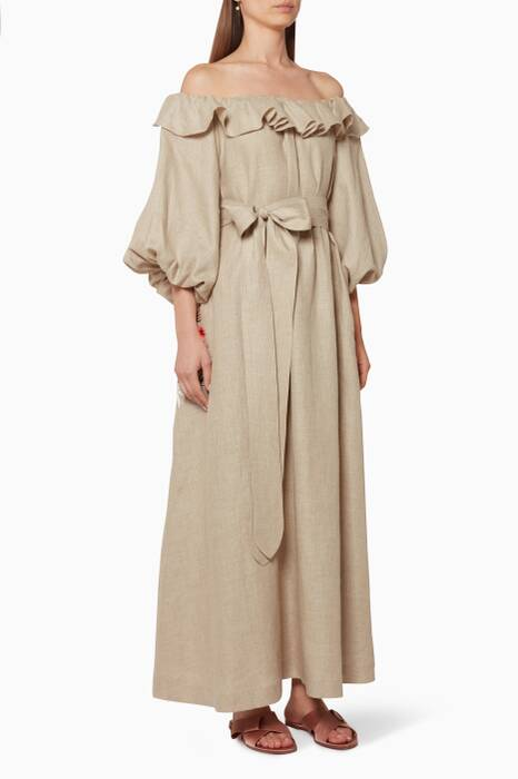 Beige Linen Embroidered Pocket Dress