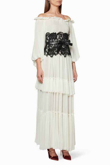 Off white Tiered Chiffon Dress
