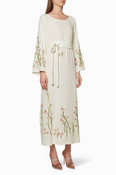 Off-white Crepe Dress with Embroidered Flowers