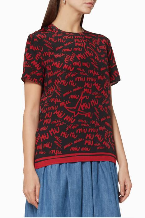 Red Printed Logo Top