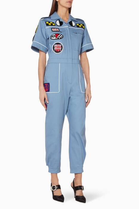 Blue Patch-Embellished Boiler Suit