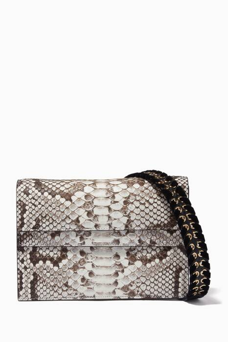Natural Double Python Shoulder Bag