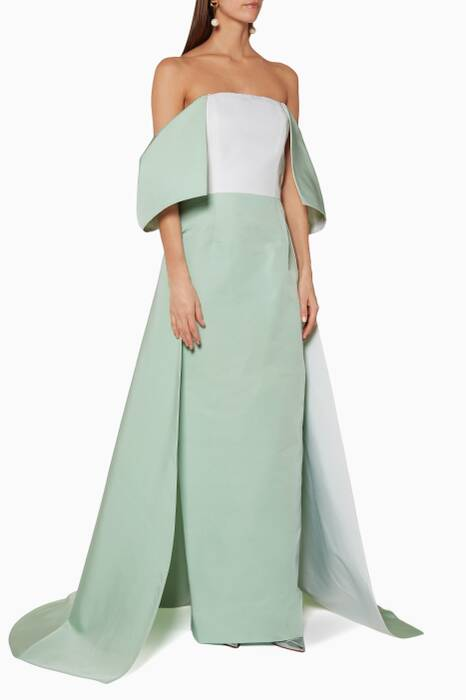 Light-Green Off-The-Shoulder Gown