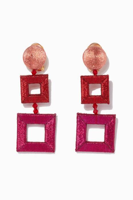 Dark-Pink Wrapped Double Square C Earrings