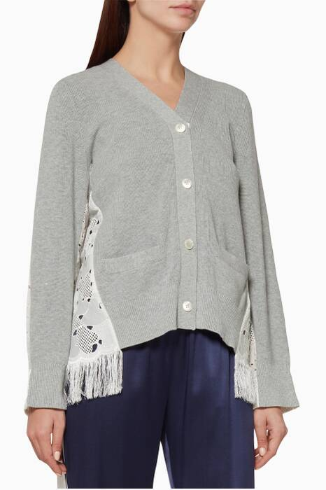 Grey Heart Lace Cardigan