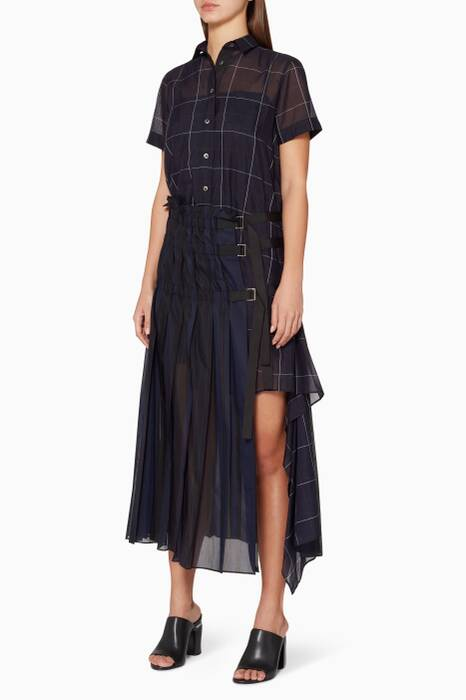 Navy Random Stripe Organza Dress