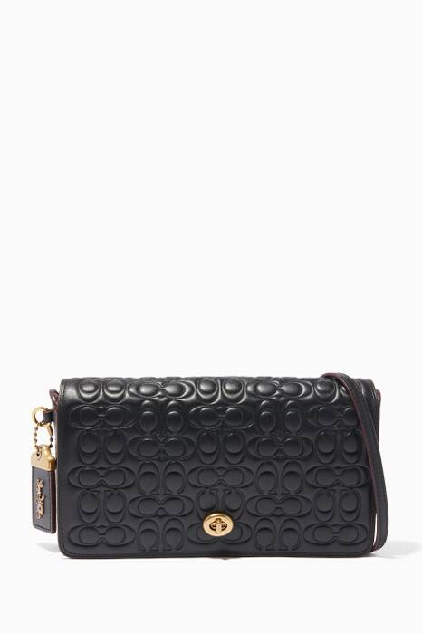 Black Embossed Dinky Cross-Body Bag