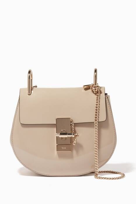 Pastel Grey Mini Drew Patent Leather Cross-Body Bag