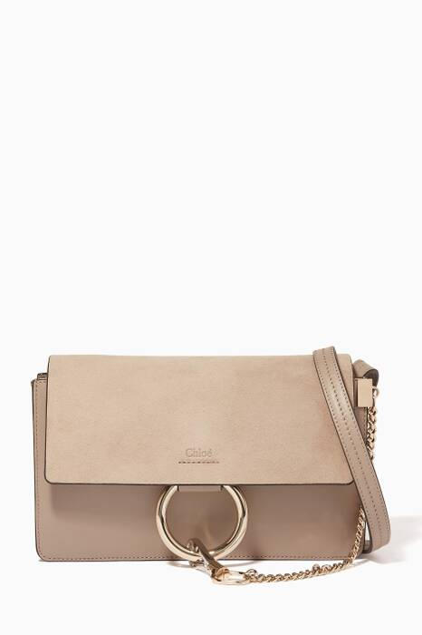 Motty Grey Small Faye Suede Cross-Body Bag