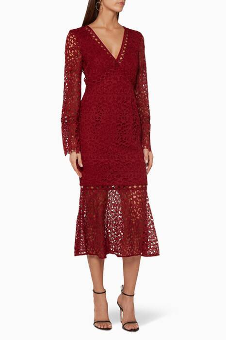 Burgundy Uplifted Midi Dress