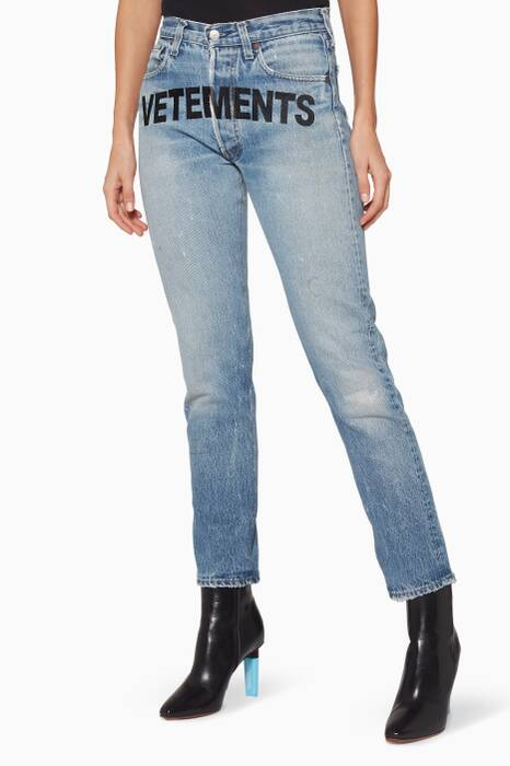 Blue Re-Worked Denim Low-Rise Jeans