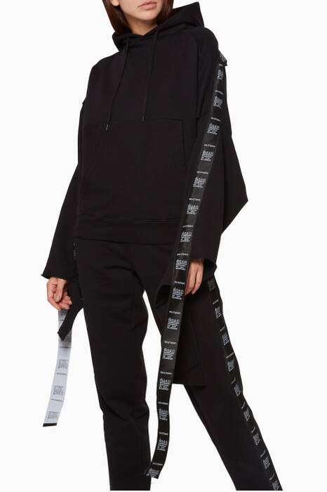 Black Tape-Trimmed Hooded Sweatshirt