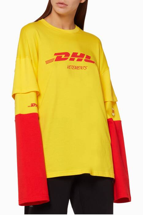 Yellow DHL Printed Long Sleeved T-Shirt