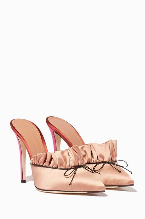 Light-Pink Ruched Point-Toe Mules