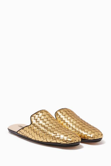Light-Gold Intrecciato Fiandra Backless Loafers