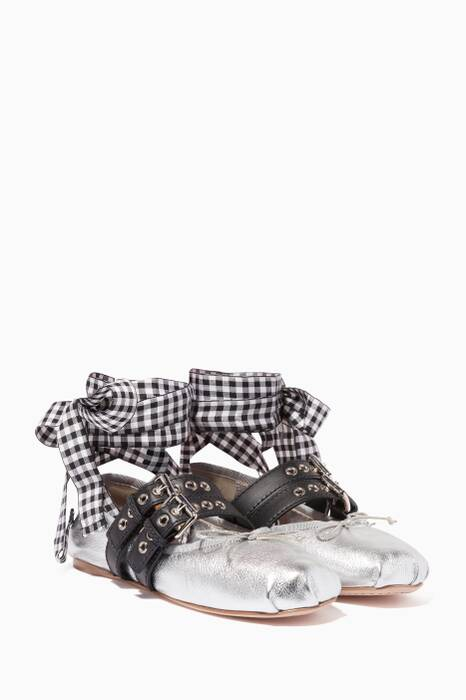 Metallic Silver Lace-Up Leather Ballerina Flats