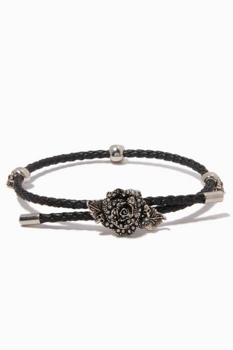 Black Leather English Rose Bracelet
