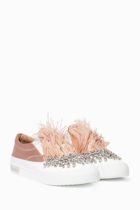 Nude Crystal Embellished Satin Sneakers