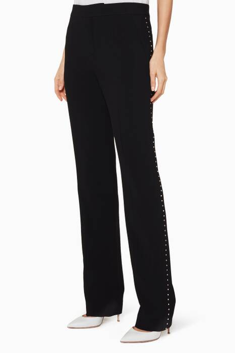 Black Crystal-Embellished Tailored Pants