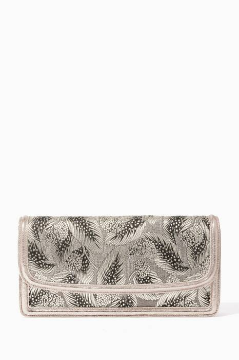 Silver Embroidered Clutch Bag